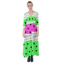 Dots And Lines, Mixed Shapes Pattern, Colorful Abstract Design Button Up Maxi Dress by Casemiro