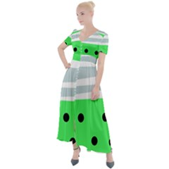 Dots And Lines, Mixed Shapes Pattern, Colorful Abstract Design Button Up Short Sleeve Maxi Dress by Casemiro