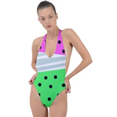 Dots And Lines, Mixed Shapes Pattern, Colorful Abstract Design Backless Halter One Piece Swimsuit by Casemiro