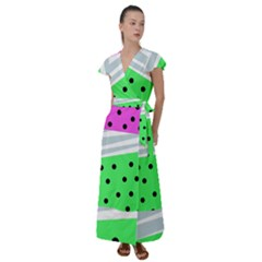 Dots And Lines, Mixed Shapes Pattern, Colorful Abstract Design Flutter Sleeve Maxi Dress by Casemiro