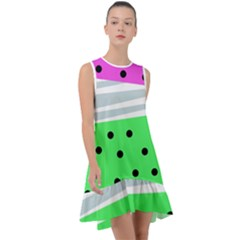 Dots And Lines, Mixed Shapes Pattern, Colorful Abstract Design Frill Swing Dress