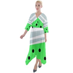 Dots And Lines, Mixed Shapes Pattern, Colorful Abstract Design Quarter Sleeve Wrap Front Maxi Dress by Casemiro
