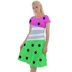 Dots And Lines, Mixed Shapes Pattern, Colorful Abstract Design Classic Short Sleeve Dress by Casemiro