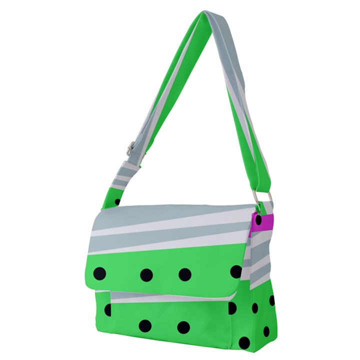 Dots and lines, mixed shapes pattern, colorful abstract design Full Print Messenger Bag (M)