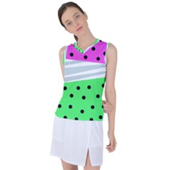Dots And Lines, Mixed Shapes Pattern, Colorful Abstract Design Women s Sleeveless Sports Top by Casemiro