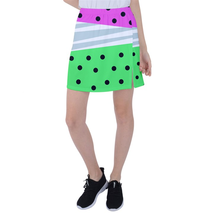 Dots and lines, mixed shapes pattern, colorful abstract design Tennis Skirt
