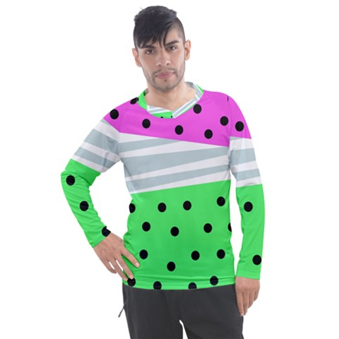 Dots And Lines, Mixed Shapes Pattern, Colorful Abstract Design Men s Pique Long Sleeve Tee by Casemiro