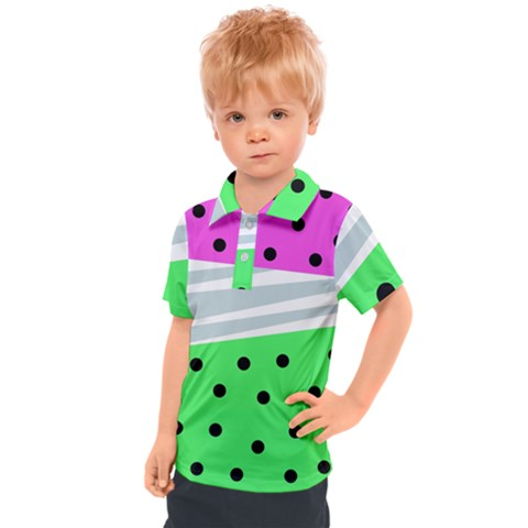 Dots And Lines, Mixed Shapes Pattern, Colorful Abstract Design Kids  Polo Tee by Casemiro