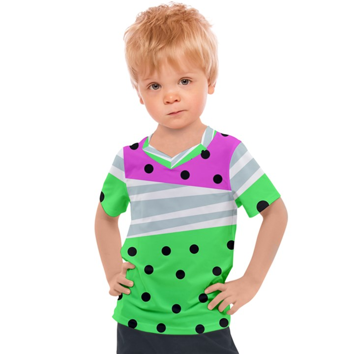 Dots and lines, mixed shapes pattern, colorful abstract design Kids  Sports Tee