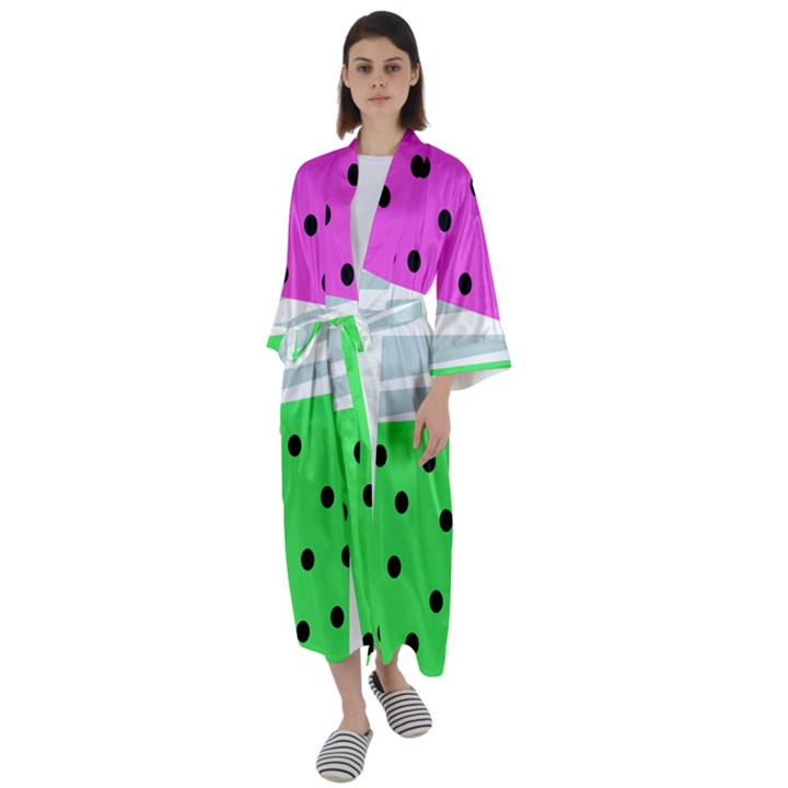 Dots and lines, mixed shapes pattern, colorful abstract design Maxi Satin Kimono