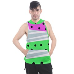 Dots And Lines, Mixed Shapes Pattern, Colorful Abstract Design Men s Sleeveless Hoodie by Casemiro