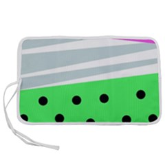 Dots And Lines, Mixed Shapes Pattern, Colorful Abstract Design Pen Storage Case (l) by Casemiro