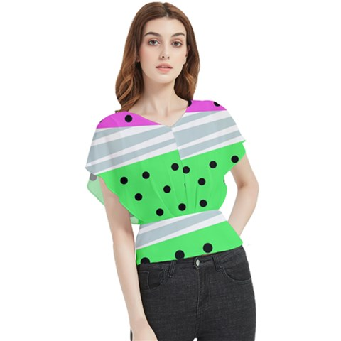 Dots And Lines, Mixed Shapes Pattern, Colorful Abstract Design Butterfly Chiffon Blouse by Casemiro