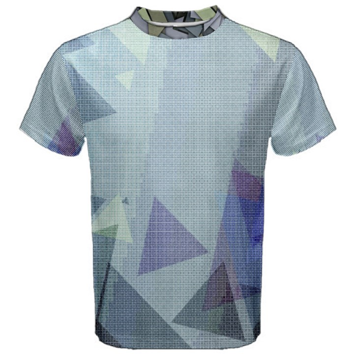 Light Blue Green Grey Dotted Abstract Men s Cotton Tee