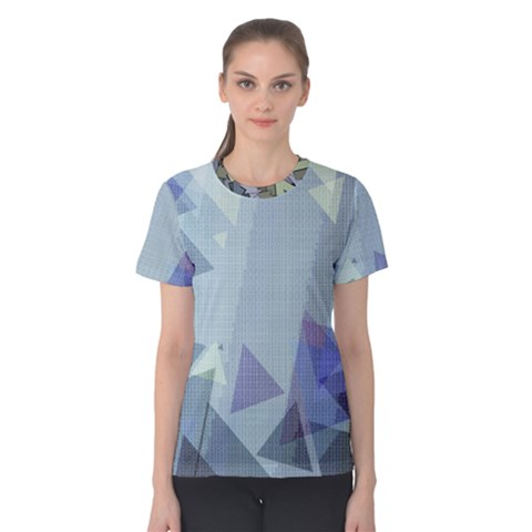 Light Blue Green Grey Dotted Abstract Women s Cotton Tee by Graphika