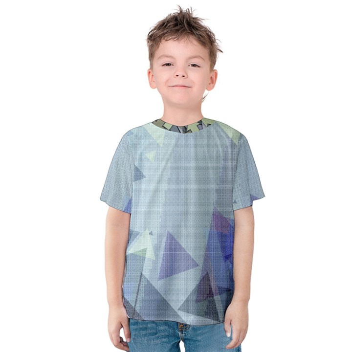Light Blue Green Grey Dotted Abstract Kids  Cotton Tee