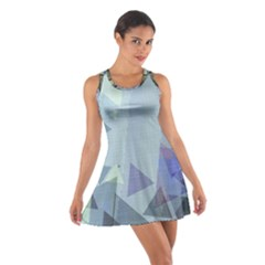 Light Blue Green Grey Dotted Abstract Cotton Racerback Dress by Graphika