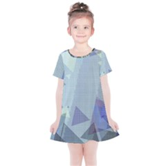 Light Blue Green Grey Dotted Abstract Kids  Simple Cotton Dress by Graphika