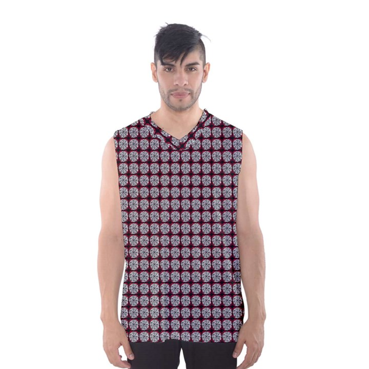 Red Halloween Spider Tile Pattern Men s Basketball Tank Top