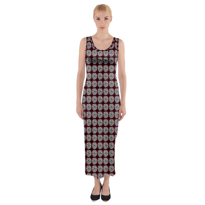 Red Halloween Spider Tile Pattern Fitted Maxi Dress