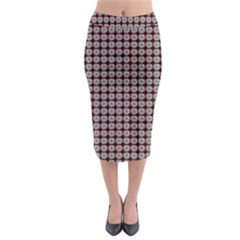 Red Halloween Spider Tile Pattern Midi Pencil Skirt