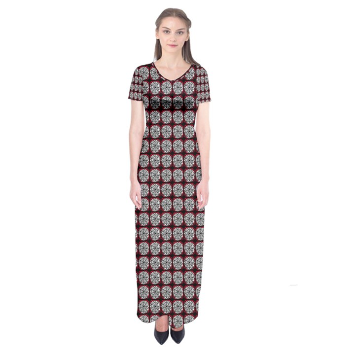 Red Halloween Spider Tile Pattern Short Sleeve Maxi Dress