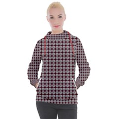 Red Halloween Spider Tile Pattern Women s Hooded Pullover