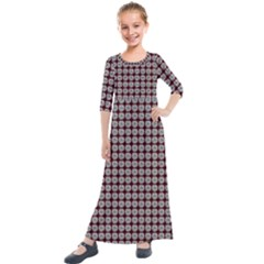 Red Halloween Spider Tile Pattern Kids  Quarter Sleeve Maxi Dress by snowwhitegirl