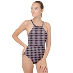 Red Halloween Spider Tile Pattern High Neck One Piece Swimsuit