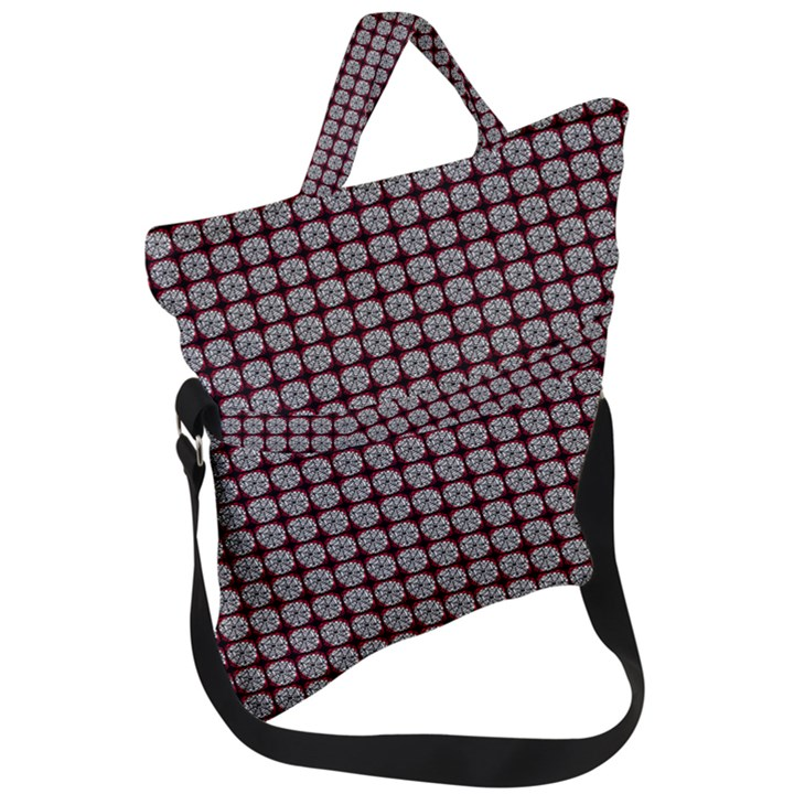 Red Halloween Spider Tile Pattern Fold Over Handle Tote Bag