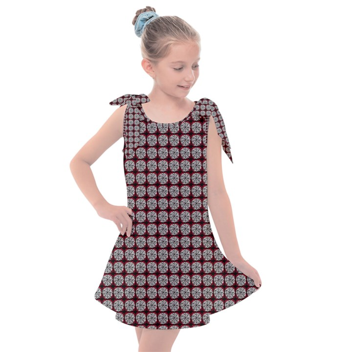 Red Halloween Spider Tile Pattern Kids  Tie Up Tunic Dress