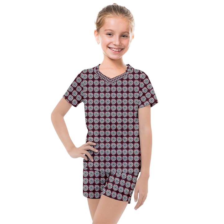 Red Halloween Spider Tile Pattern Kids  Mesh Tee and Shorts Set