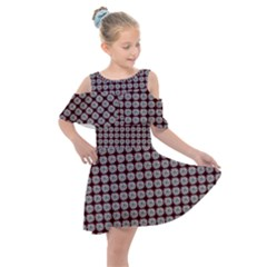 Red Halloween Spider Tile Pattern Kids  Shoulder Cutout Chiffon Dress by snowwhitegirl