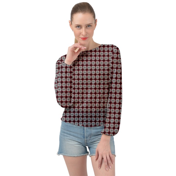 Red Halloween Spider Tile Pattern Banded Bottom Chiffon Top