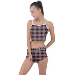 Red Halloween Spider Tile Pattern Summer Cropped Co-ord Set