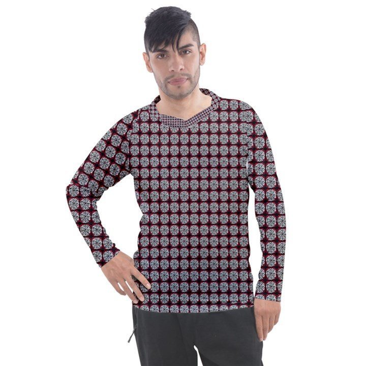 Red Halloween Spider Tile Pattern Men s Pique Long Sleeve Tee