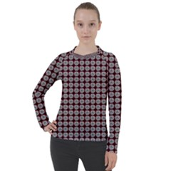 Red Halloween Spider Tile Pattern Women s Pique Long Sleeve Tee