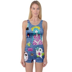 Blue Denim And Drawings One Piece Boyleg Swimsuit