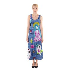 Blue Denim And Drawings Sleeveless Maxi Dress
