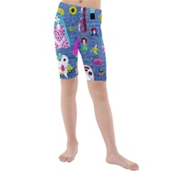 Blue Denim And Drawings Kids  Mid Length Swim Shorts