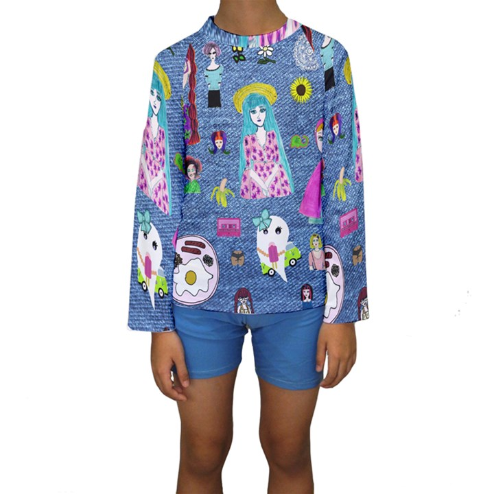 Blue Denim And Drawings Kids  Long Sleeve Swimwear
