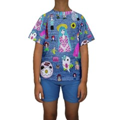 Blue Denim And Drawings Kids  Short Sleeve Swimwear