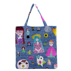 Blue Denim And Drawings Grocery Tote Bag