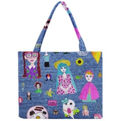 Blue Denim And Drawings Mini Tote Bag