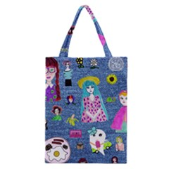 Blue Denim And Drawings Classic Tote Bag