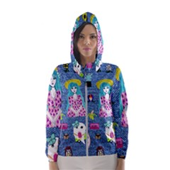 Blue Denim And Drawings Women s Hooded Windbreaker
