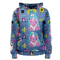 Blue Denim And Drawings Women s Pullover Hoodie