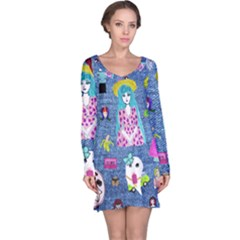 Blue Denim And Drawings Long Sleeve Nightdress