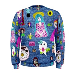 Blue Denim And Drawings Men s Sweatshirt