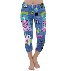 Blue Denim And Drawings Capri Winter Leggings